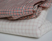 Vintage Fabric, Yards of Checkered Cotton, Small Summer Cotton Checked Fabric, Light Weight Wool Blend Fabric, Cotton