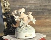 "Otagiri Koalas on Eucalyptus Branches - The Carpenter's ""Close To You"" Revolving Music Box, Porcelain, Made in Japan, Mommy and Me"