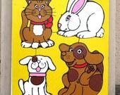 Vintage Playskool Wooden Puzzle - My Pets, Preschool Puzzle, Dog, Bunny, Cat, Puppy, Treasury Item