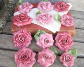 Vintage Porcelain Rose Cabachon, Supplies, Mosaic, Art and Crafts