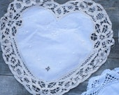 Vintage Embroidered Lace French Country Heart Shaped Linens - Lot of 3