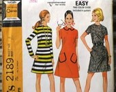 Vintage Sewing Pattern, McCall's 2189, 1960s Designer Fashion Misses' Dress in Three Versions