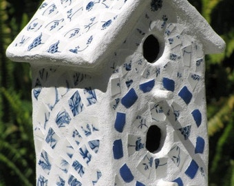 Vintage Blue and White English Transferware 2-Hole Mosaic Birdhouse - Decorative Birdhouse, Vintage China, Hand Made, Treasury Item