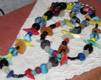 Vintage Fetish Birds Necklace Multicolor Natural Stones, Swarovski Crystals, Spring Fashion Necklace
