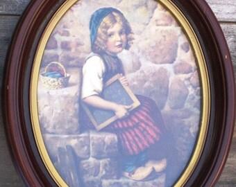 Vintage Oval Wooden Framed Art, Darling Dutch School Girl, Artwork