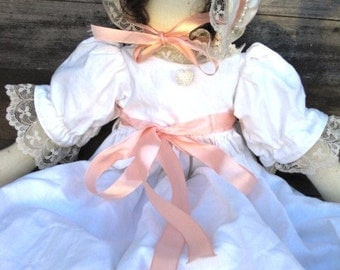 Vintage Rag Doll with White Embroidered Crisp Clean Cotton Dress