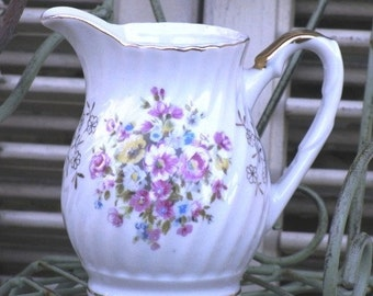 Porcelain Swirl Creamer Pitcher With Decorated Spring Flowers