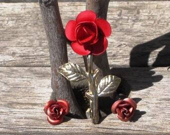 Vintage Red Rose Brooch and Earrings Set, Roses with Stem and Leaves, Vintage Red Rose Brooch, Vintage Red Roses Earrings