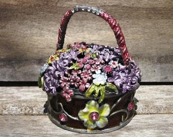 Vintage Trinket, Pewter Swarovski Bejeweled Hinged Floral Trinket Basket - Flower Basket, Spring Basket, Treasury Item