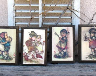 Vintage 1960s Bonnie Children Illustrations - Set of 4, Wooden Framed Art, Playful Vintage Children, Dutch Children, Wall Hangings, Bonnie
