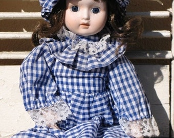Brinn's Collectible Porcelain Doll 1986 - Blue Gingham, Prairie Doll, Cute Face Doll, Lovely Doll, Brunette Doll, Blue Eyes, Treasury Item