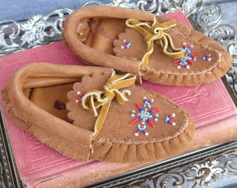 Vintage Baby Moccasins Suede, Beaded, Native American, Collectible Item
