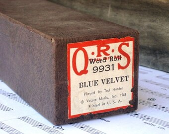 Vintage 1963 Q.R.S. Piano Word Roll 9931 - Blue Velvet, Altered Art, Recycle, Upcycle, Arts and Crafts