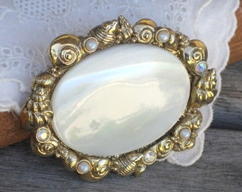 Vintage MOP Brooch Pin Sea Shells Faux Pearl Rhinestones Goldtone, Oval Mother of Pearl Brooch