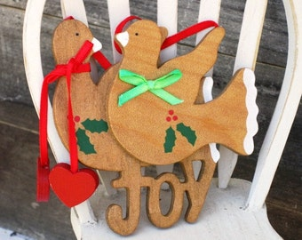 JOY and Two Wooden Doves Christmas Ornament, Christmas Tree Decor, Holidays