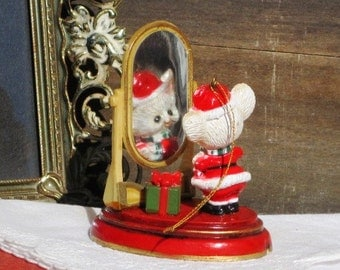 Vintage Santa Mouse Looking in Mirror - Vintage Ornament, Holiday Shopping, Holidays, Figurine, Tree Decor, Christmas Tree Ornament
