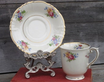 Vintage Federal Shape Syracuse China - Demitasse Cup and Saucer - Floral Design, Espresso, Porcelain, Small Teacup & Saucer, Cream