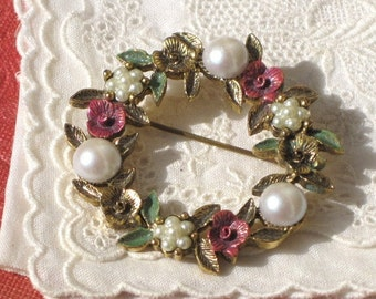 Vintage Garden Bouquet Brooch with Faux Pearls, Vintage Ladies Jewelry
