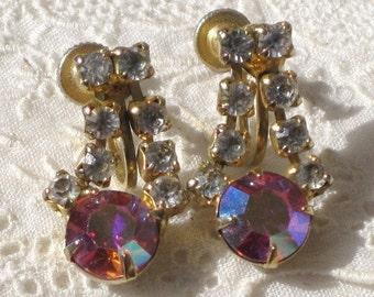 Vintage Screwback Clip Pink Rhinestones Dangle Earrings, Vintage Ladies Jewelry