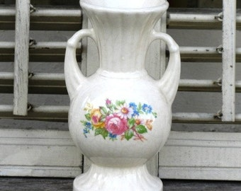 Vintage Footed Vase  with Handles, Bouquet of Flowers, Ribbed Urn-Style Vase, Spring Flower Vase