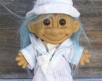TROLL Sailor in Blue Pinstripe Outfit with Light Blue Hair - RUSS