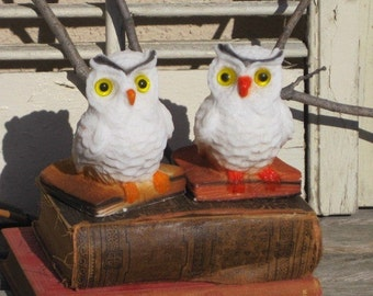 Vintage Owl Bookends, REGAL Wise Owl 2-pc White Owl Bookends