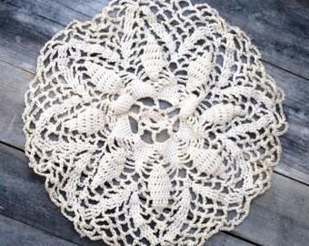 Vintage Crocheted Doily - RUFFLED Ivory, Handmade, Floral Design, Snowflake Doily, Star Shaped Doily, Table Top Doily, Treasury