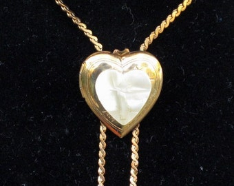 Vintage MOP Heart Locket Necklace with Etched Cross, Bolo Necklace
