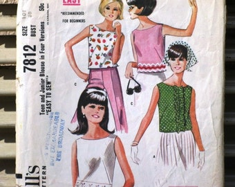 Vintage McCall's Printed Sewing Pattern 7812, Teen and Junior Blouse in Four Versions, Supplies, Commercial