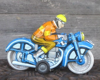 Vintage 1960 Lithographed Motorcycle Friction Ballon Cordatic Tin Toy