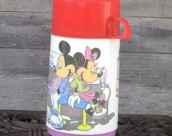 Vintage Mickey and Minnie Mouse Aladdin Thermos, Collectible Item, Vintage Disney
