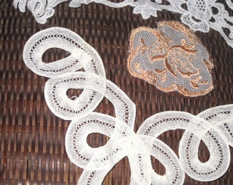 Vintage Lace Embroidered Trim, Mixed Lot, Sewing Supplies