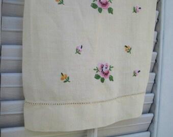 Vintage Yellow Linen Towel, Guest Towel, Hand Towel, Buttercream Yellow Linen