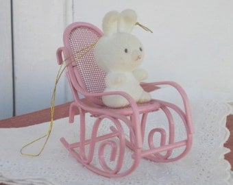 Vintage Avon The Spring Bunny Collection, Bunny in Rocker, Easter Decor, Holidays