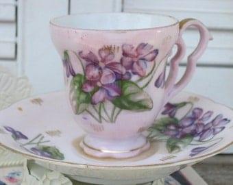 Vintage Scalloped Demitasse Violets, Purple Flowers