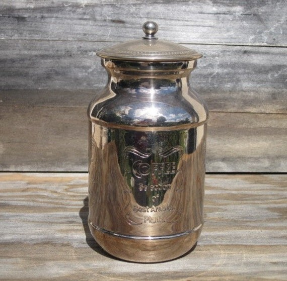 Vintage Silver Plated Engraved Coffee Canister with Lid