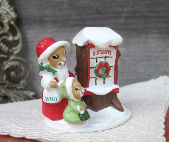 Avon Forest Friends Shopping for Treats Mini Figurine, Avon Gift Collection, Avon Collectibles, NIB, Christmas Decor, Holidays