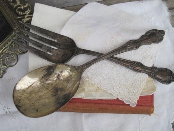 Vintage Wm A. Rogers Mfg. Co. Extra Plate Original Rogers Serving Spoon & Fork Set, Treasury Item