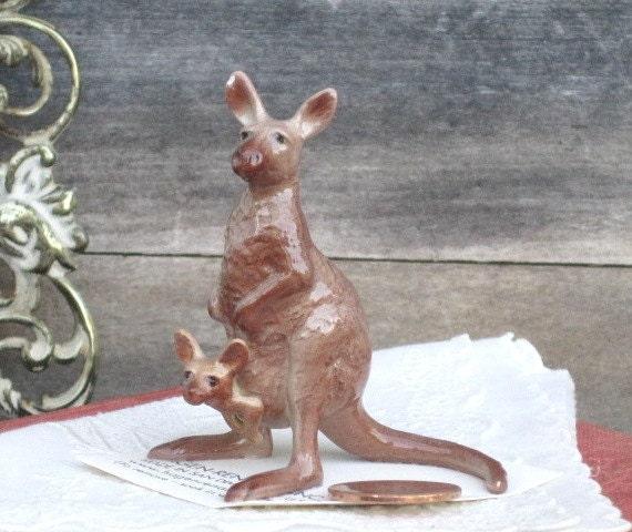 Vintage Hagen-Renaker Miniature Mama Kangaroo with Joey, Collectibles, Animal Figurine, Christmas Gift Idea, Holiday Shopping