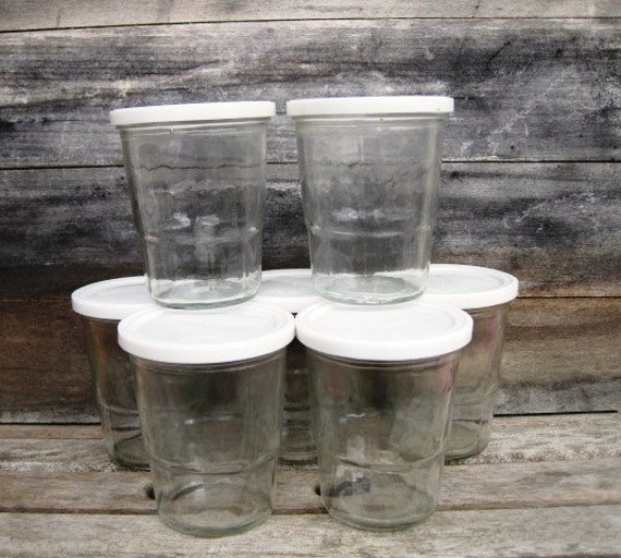 Vintage BALL 8-oz Jelly Glasses with White Snap-On Plastic Lids - Lot of 8, Vintage Glass Containers