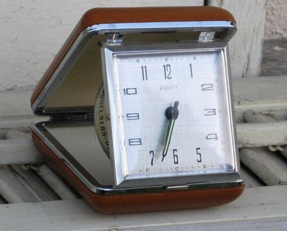 Vintage Equity Travel Clock - Silver Trim, Luminous, Wind Up, Folds Up, Easy to Carry, Hard Plastic, Treasury Item
