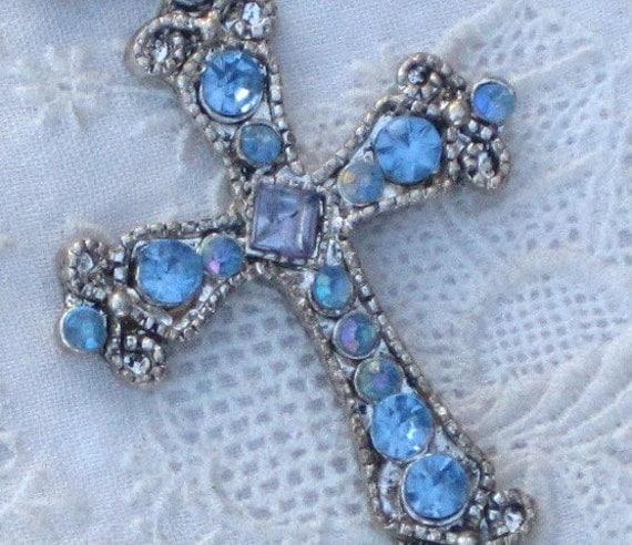 Vintage Cross Pendant Silvertone Blue Rhinestones
