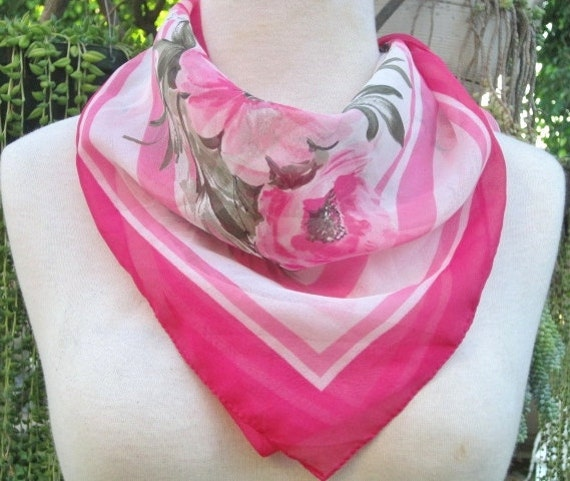 """Vintage Scarf Hot Pink, Elvin Made in Italy Scarf, 32"""" x 30"""" Full Scarf, Valentine's Day Gift"""