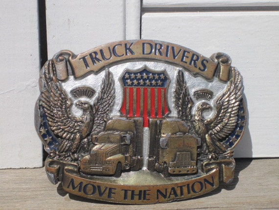 Vintage Truck Drivers Move the Nation Belt Buckle