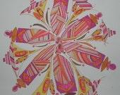 whirligig pink purple pen and ink original drawing