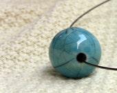 RESERVED FOR PATTY Turquoise raku ceramic bead necklace chocker handmade