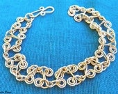 Free Shipping Sterling Silver Hearts and Swirls Bracelet