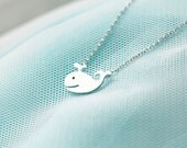 Happy whale necklace in matte silver