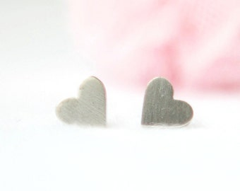 Little silver hearts  studs earrings