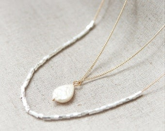 Tiny silver square beads and Fresh water Pearl layered Long Necklace